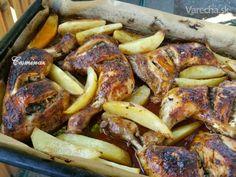 V rúre pečené kuracie stehná (fotorecept) - Recept Pork, Meat, Chicken, Red Peppers, Kale Stir Fry, Beef, Pork Chops, Cubs