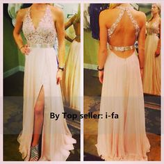 Sexy Long Open Back Slit Chiffon Prom Gowns Appliques Evening Dresses To Party