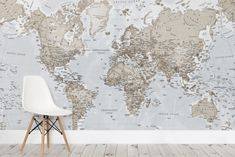 Neutral Atlas World Map Wallpaper
