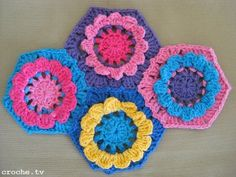 CROCHE: Passo a passo da flor de croche hexágono