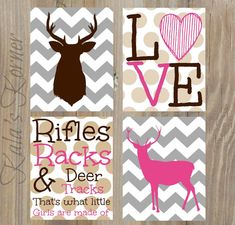 Girls deer nursery art, chevron nursery art by KalasKorner, $36.00