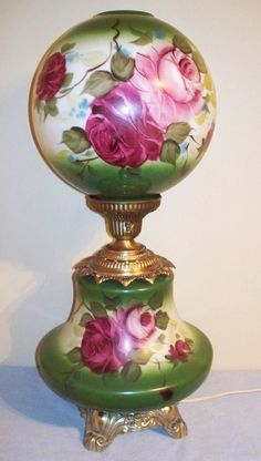 Vintage Electric Parlor Lamp GWTW Ball Globe Hand Painted Roses 3 Way Lighting (Excellent) Antique Oil Lamps, Antique Lighting, Vintage Lamps, Decorative Floor Lamps, Victorian Lamps, I Love Lamp, Chandelier Lamp, Chandeliers, Decoration