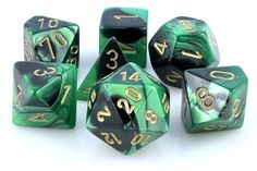 RPG Dice Set (Gemini Green and Black) role playing game dice + bag