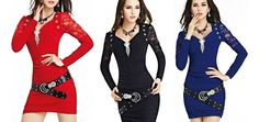 $22 for a Women's Lace V-Neck Slim Dress with Matching Belt - Tax Included ($80 Value)