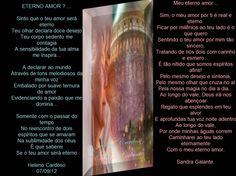 Eterno Amor? e Meu Eterno Amor.Heleno Cardoso e Sandra Galante. - Encontro de Poetas e Amigos