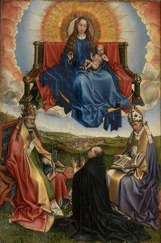 Robert Campin, La Vierge en gloire entre saint Pierre et saint Augustin vénérée par un donateur, v. 1440. Aix-en-Provence, musée Granet.