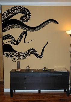 SALE Large Kraken/Octopus Tentacles Vinyl Wall by Pillboxdesigns, $54.99
