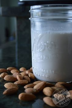 Homemade Almond Milk Stupid Easy Paleo - Easy Paleo Recipes to Help You Just Eat Real Food. Also how to make flour with remaining almond meal after making the milk. Make Almond Milk, Almond Milk Recipes, Homemade Almond Milk, Almond Flour, Almond Meal, Whole30 Almond Milk, Almond Pulp, Vegan Milk, Paleo Recipes Easy
