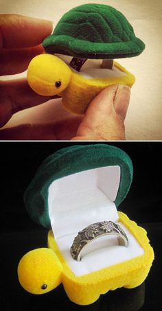This would be the sweetest (and more subtle) way to present an engagement ring!  A cute little fuzzy turtle that opens up to reveal the ring!
