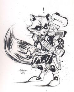 NYCC 14 sketch - Rocket Raccoon by marciotakara