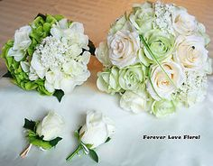 10 Pcs Light Green Rose and Cream Rose Wedding Flower Bridal Bouquet