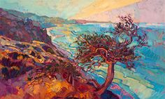 Torrey Pines La Jolla landscape oil painting for sale by modern impressionist painter Erin Hanson