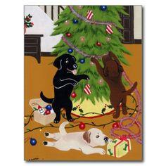 Labrador Retriever Christmas Tree Postcard