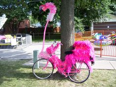 part of the banana bike brigade (st. Bike Decorations, Bike Parade, Flamingo Craft, Everything Pink, Pink Flamingos, Fourth Of July, Craft Gifts, Pretty In Pink, Creations