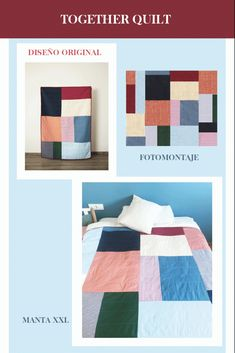 Manta de patchwork moderno hecha a medida, para ti. Design Your Own, Diy Clothes, Quilts, Blanket, Bed, Fabric, Inspiration, Colors, Patchwork Blanket