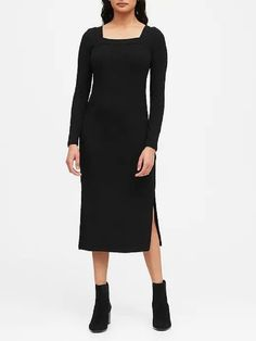 Ribbed Square-Neck T-Shirt Dress Banana Republic Style, Neck T Shirt, Shirt Dress, Ribbed Knit Dress, Everyday Fashion, Dresses For Work, Clothes, Passport, Modern