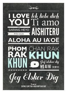 Different language of love typography poster by NeueGraphic
