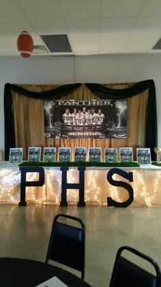 Football banquet Football Centerpieces, Football Party Decorations, Banquet Centerpieces, Banquet Decorations, Banquet Ideas, Football Banquet, Football Awards, Sports Awards, High School Soccer