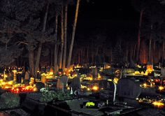 All Souls Day. The night from 1st to 2nd of November in Lithuanian cemeteries