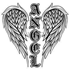 Illustration of Abstract vector illustration black and white wings and inscription angel in the Gothic style. Design for tattoo or print t-shirt . vector art, clipart and stock vectors. Feather Tattoo Design, Wing Tattoo Designs, Angel Tattoo Designs, Cross With Wings Tattoo, Angel Wings Tattoo On Back, Angels Tattoo, Rabe Tattoo, Sword Tattoo, Wings Drawing