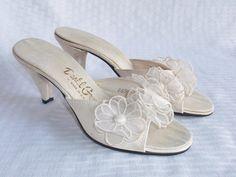 1950's Vintage White with Flowers Slipper by MyVintageHatShop