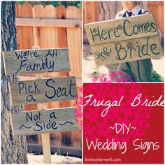 Great ideas for DIY wedding signs! These are great for outdoor weddings. Wedding Signs, Diy Wedding, Wedding Stuff, Wedding Ideas, Pick A Seat, Outdoor Weddings, Frugal, Bling, Strong