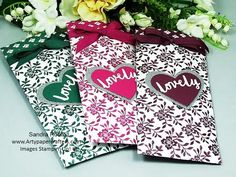 Pretty Gift Bag Pouches (SO LOVELY) - SandraR Stampin' Up! Demonstrator Independent - YouTube