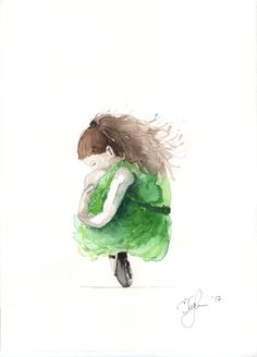 Embrace yourself. Green ballerina. Watercolors on paper.