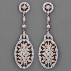 Art Deco Diamond, 18k Rose Gold And Platinum Earrings