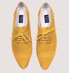 30% sale Yellow pointy flats Oxford shoes Women by vidersShoes