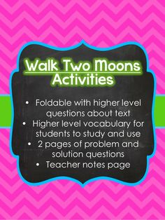 $2 Walk Two Moons Activities and Vocabulary