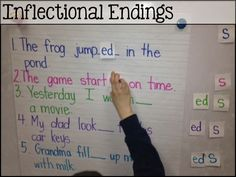 Worksheet Wednesday Inflectional endings word building activity within context of the paragraph.Inflectional endings word building activity within context of the paragraph. First Grade Phonics, First Grade Writing, First Grade Classroom, 2nd Grade Activities, Word Work Activities, Grammar Activities, Kindergarten Reading, Teaching Reading, Guided Reading