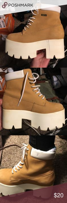 Platform Tim look alike boots Gently used. Some skuffs not listed brand from Soozza bros made in Portugal. Size 9 fits snug UNIF Shoes