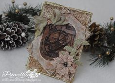 My Little Craft Things: Vintage Christmas Cabinet Card - in Shades of Metal