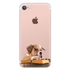 Cute Funny animal Dogs and Cats pug Case for iphone 6 6S 5s SE 7 7plus 6plus 6Splus Soft Silicone Phone Back Cover Capinha Coque