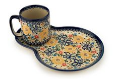Butterfly Breakfast Plate with Mug - Blue Rose Polish Pottery