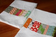patchwork kitchen towels...what a fun way to dress up white flour sack towels!