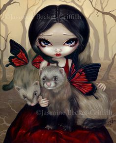 Ferret and his Fairy gothic fantasy art CANVAS PRINT