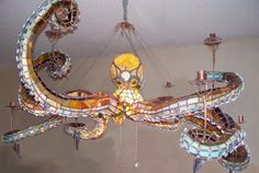 Stained glass octopus chandelier by Mason Parker