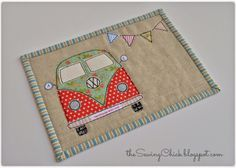 tula pink coastal cruiser VW mug rug . Great gift tutorials and heck quilt. Small Quilts, Mini Quilts, Mug Rug Patterns, Quilt Patterns, Canvas Patterns, Quilting Projects, Sewing Projects, Mug Rugs, Hot Pads