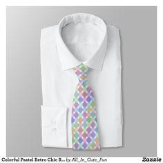 Colorful Pastel Retro Chic Round Squares Pattern Neck Tie