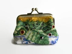 Handmade Coin Purse with Cross Stitched Panel and Golden Fringe.  Blue and Fuschia purse.