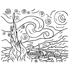 Van gogh the starry night - Art Coloring pages for kids Coloring Pages for Adults - Just Color Van Gogh Tattoo, Art Van, Van Gogh Tatuaje, Desenhos Van Gogh, Art Sketches, Art Drawings, Tattoo Sketches, Tattoo Drawings, Van Gogh Arte
