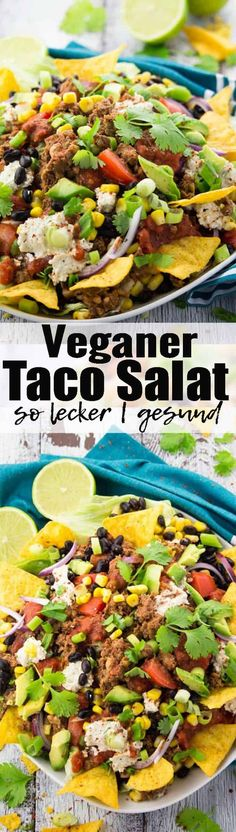 """Veganer Taco Salat mit Linsen Walnuss """"Hackfleisch"""". Nicht nur unglaublich lecker, sondern auch eine richtige Proteinbombe! Gesunde Rezepte können so lecker sein! Mehr vegane Rezepte findet ihr auf veganheaven.de ! via @veganheavende"""