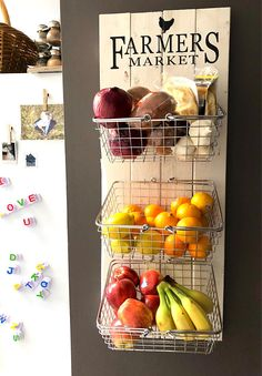 fruit & vegetable storage, produce storage, kitchen storage, rustic kitchen decor, farmhouse decor - Farmer's market rustic produce wall hanging fruit & Kitchen Decorating, Farmhouse Kitchen Decor, Farmhouse Interior, Country Kitchen, Modern Farmhouse, Kitchen Pantry, Kitchen Storage, Kitchen Ideas, Kitchen Cabinets