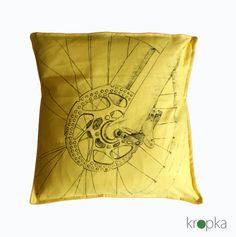 Bike pillowcase Yellow bike art handpainted throw by KropkaDesign