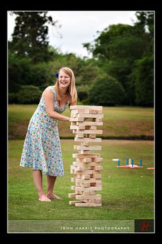 Giant Jenga. Can just use 2x4's and cut them each 10.5 inches & cut 54 for each set.  You don't have to sand them, and it would work just fine, but it would probably be good to sand the blocks.