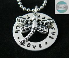 Luxurious Stainless Steel Names Pendant with Sterling Silver Dragonfly Charm & Necklace Add Own Names Personalised Message Gift Child by CoorabellCrafts on Etsy