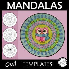 Mandala Templates – Design a mandala pattern – OWL theme Owl Templates, Mandala Pattern, Circles, Art Work, Centre, Art Pieces, Outdoor Blanket, Students, Spaces