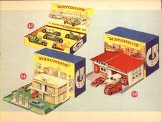 Matchbox Lesney 1965 catalog - Gift Sets , Veteran and Vintage Set, Service Station Set and Fire Station Kids Garage, Toy Garage, Retro Toys, Vintage Toys, 1950s Toys, Corgi Toys, Matchbox Cars, Triumph, Emergency Vehicles